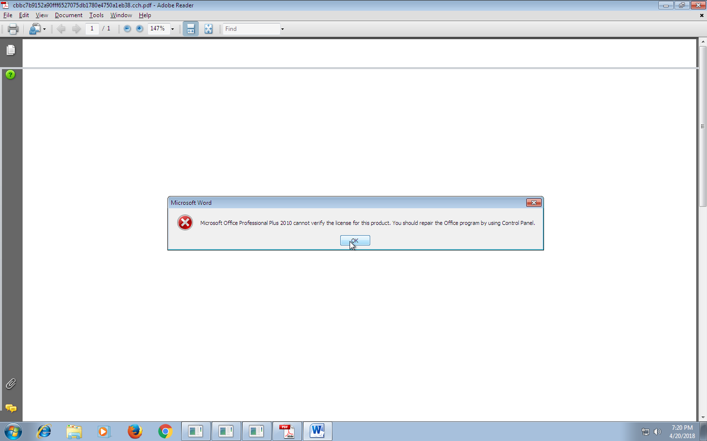 microsoft office professional plus 2010 cannot verify the license for this product