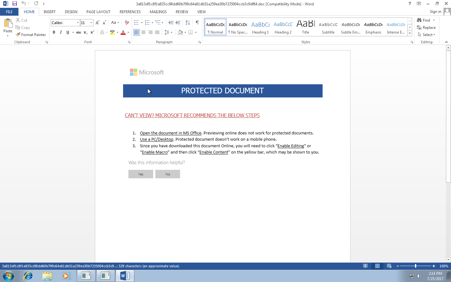 Password Protected Microsoft Word Document Analysis | VMRay